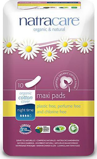 Pack of 10 Natracare Organic Maxi Night Time Pads